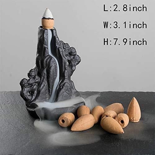 Skulpturen Weihrauch-Brenner Ornamente,Keramik Kleine Keramik-Ornamente Weihrauch-Brenner zurück Rauch Wasser weihrauch ofen-Räuchergefäß A 7.9Zoll -