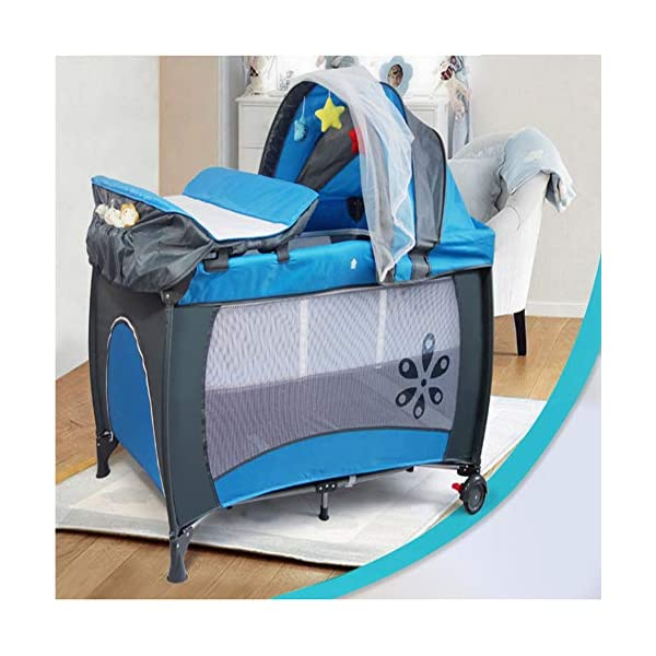 Mr.LQ Multifunctional Foldable Crib Portable Game Bed,Blue  [Folded Baby Cot]Due to its folding design, you can take it to anywhere as you like by packing it in the supplied carry bag, and it just takes you a while to fold or unfold it before using. [See-through safety mesh]It features mesh cloth on both sides, this netted areas allow your baby to see out clearly as well as an onlooker to see in to her/him, and it also offers great ventilation for your baby. [Easy to Move] It designed in two wheels and two legs, you can move it around easily without any problems with the help of two wheels, and there is no issue to worry the stability due to the two sturdy legs. 1