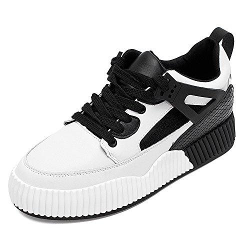 FUFU Sneakers delle donne Primavera Estate Autunno Inverno Comfort PU Outdoor Athletic Casual Low Heel Bianco per 18-40 anni 1.77cm (4.5cm) ( Colore : Grigio , dimensioni : EU38/UK5.5/CN38 ) Nero