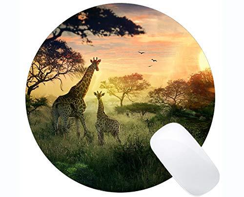 Runde Mauspad Rutschfeste Naturkautschuk-Rechteck Runde Mauspads, Baum-Girlande-Giraffe der Reflexionstiergummi Mousepad Genähte Ränder