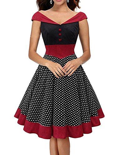 en Kleider Polka Dots Elegante Bodycon Kurze Abendgesellschaft Kleider Baumwolle Schwarz&Burgund Größe Large (50er Jahre Stil Kleid Bis)