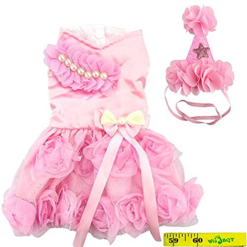 Wiz BBQT Fairy Elegante Sweet Fashion Pink Dog Pet Princess Bride Formelle Rose Tutu Hochzeit Party Kleid Band Schleife Satin Puppy Rock Tuch Kostüm und Passenden Blume Haarband, C, Rose (Mädchen Rosa Rose Fairy Kostüm)
