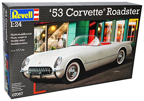 Revell Chevrolet Corvette C1 Cabrio Weiss 1953-1962 07067 Bausatz Kit 1/24 Modell Auto mit individiuellem Wunschkennzeichen