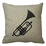 LULABE Trumpet Silhouette Throw Pillows Custom Throw Pillow Case Cushion Cover Personalized Pillo Baby Square Pillow Cover for Couch Sofa Or Bed Set Cozy Home Decor Size:20 X 20 Inches/50cm x 50cm