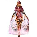 YWLINK Karneval Damen Herren Mit Kapuze Langer Umhang Chiffon SchmetterlingsflüGel Cape Schal Neuheit Print Pfau Poncho Schal Wickeln