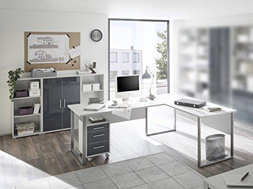 SUPER XXL Set Büromöbel Office Luxo 5 teilig I Graphit-Lichtgrau -