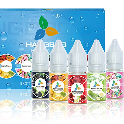 Hangboo E Liquid Pack of 5 x 10ml Mix Fruity Flavours are Peach Mango Bubble Gum   Blackberry   Lemon Soda   Raspberry to Create A Super Strong Flavour with High Grade Ingredients Made for Electronic Cigarette high vg Cloud Vape and E Shisha VG 80 PG 20 Nicotine Free 0mg (Premium Tobacco Liquid Oil Gel Refills for Ecigarette Fluid Taste Pure Smooth Vapour)