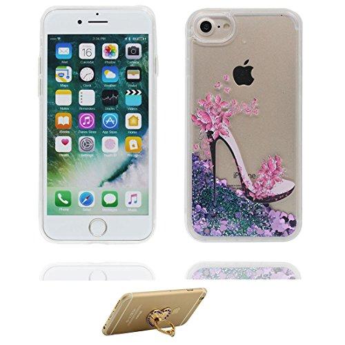 "Coque iPhone 7 Plus, iPhone 7 Plus étui Cover 5.5"", Bling Bling Glitter Fluide Liquide Sparkles Sables, iPhone 7 Plus Case Shell, anti-chocs (Multiflora Rose) & ring Support # 2"
