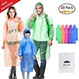 Walsilk 10 Pack Emergency Disposable Rain Ponchos with Sleeve,Family Pack Rain Ponchos Adults