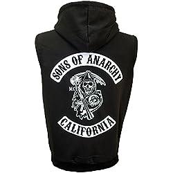 Sons Of Anarchy –Sudadera con capucha sin mangas - Jax Teller Opie Samcro negro Talla única