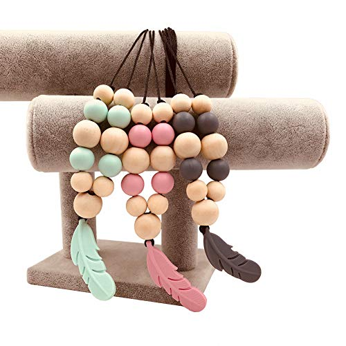 NaiCasy 3pcs Stift Dental Chew Perlen Halskette für Frauen Chewbeads Baby Beißring Spielzeug Halsketten 100% Silikon BPA-frei Molar Spielzeug zufällige Farbe, Beruhigungssauger