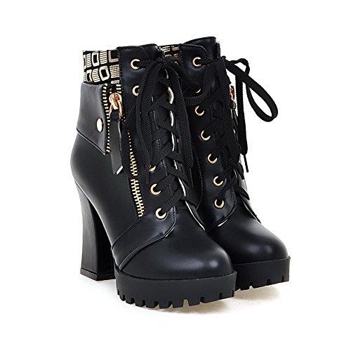 AgooLar Damen Pu Leder Niedrig-Spitze Gemischte Farbe Schnüren Hoher Absatz Stiefel Schwarz