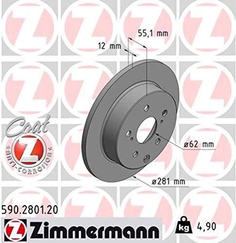 Preisvergleich Produktbild ZIMMERMANN 590.2801.20 Bremsscheibe,  hinten,  Coat Z