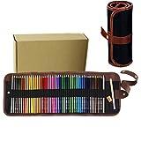 PIDD Öliger Bleistift Fettbleistift mit Leinwand Buntstift Wrap für Färbung oder Manga Malbücher Zeichnungen (48 Farbes)