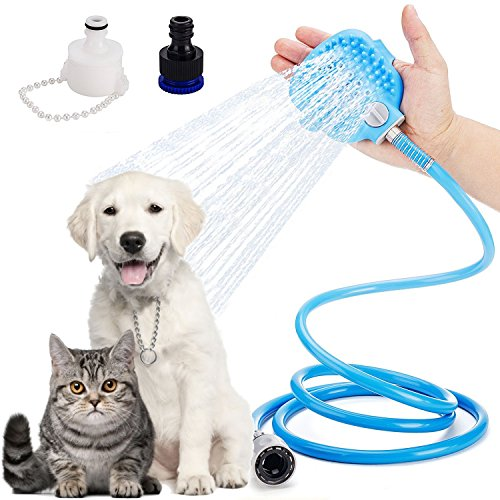 LURICO 3 in 1 Dog Shower Sprayer | Pet Brush Shower | Pet Bathing Tool, Adjustable Bath Glove, Clean, Massage & Remove Hair | Shower Attachment for Indoor & Outdoor Use | Pet-Friendly