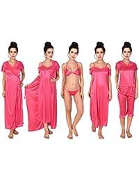 KEOTI Maroon Color Satin Honeymoon wear Night Suit Nightwear Nighty - Set  of 6 6281caf37