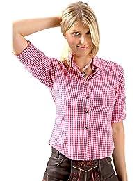 ALMBOCK Trachtenbluse Damen langarm | Karierte Bluse in vielen Farben aus 100% Baumwolle | Festliche Blusen in Größe 34-46