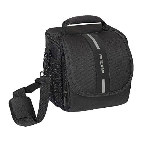 """PEDEA """"Essex"""" SLR-Kameratasche mit Regenschutz, Tragegurt und Zubehörfächer Gr. M, schwarz/grau"""