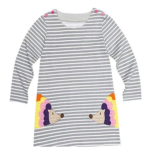 JERFER Baby Kleinkind-Mädchen Langarm Herbst Karikatur Prinzessin T-Shirt Kleid 2-6T (G, 6T)