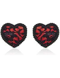 LUOEM Cubiertas para pezones en forma de corazón Pechugón de pechuga Pastillas de silicona autoadhesivas reutilizables para mujeres (negro)