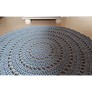 Teppich Häkelteppich rund Kinderteppich Kinderzimmer blau hellblau Mandala 90 cm