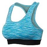 Damen Sport-BH Abnehmbare Polsterung Hochdrücken Breite Schulterriemen Blau XL