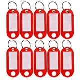 SUMAJU 10pcs Key Ring Tags, Plastic Luggage ID Labels with Keyring Red
