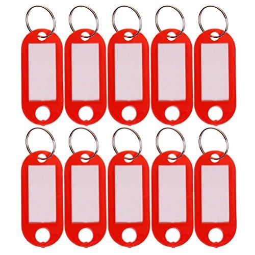 sumaju 10 Schlüssel Ring Tags, Kunststoff Gepäck ID Etiketten mit Schlüsselanhänger rot