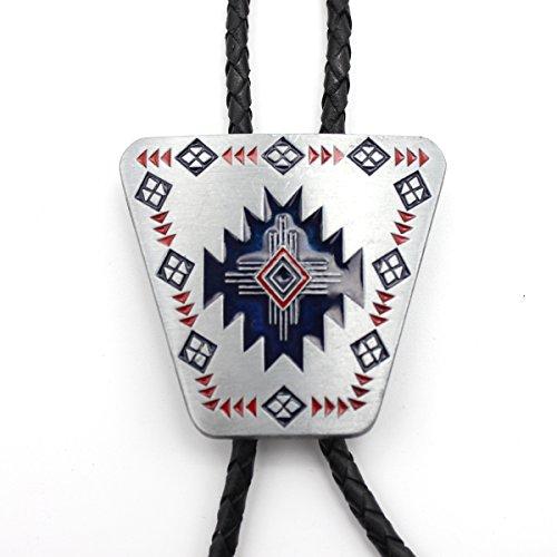 Scheppend hombres bolo tie Southwest Totem patrón de cruz Western corbata azul piedra
