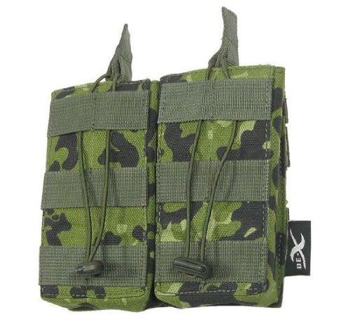 BE-X Offene Magazintasche CQB, für MOLLE für zwei M4/M16 Magazine - dänisch tarn