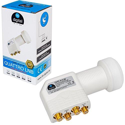 HB-DIGITAL Quattro LNB LNC für Multischalter für Multiswitch ✨ FULL HD TV 3D 4K Weiß Weiss White ■ Kontakte vergoldet ■ Wetterschutz (ausziehbar)