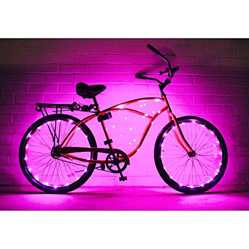 Guirlande Lumineuse 20 LEDs pour la Roue de Vélo Bicyclette, Lampe LED Imperméable Décorative pour Décorer le Vélo (Rose)