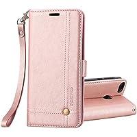 Ferilinso Funda Huawei P8 Lite 2017, Carcasa Cuero Retro Elegante con ID Tarjeta de Crédito Tragamonedas Soporte de Flip Cover Estuche de Cierre magnético para Huawei P8 Lite 2017 (Oro Rosa)