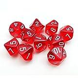 Bescon Polygonal 10-Seitig Würfel Mit Der Nummer 1 - 10, W10 Rote transparente 10 Seitige Würfel, Würfel - 10 Weiten