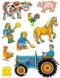 """9 tlg. Set _ Fensterbilder - """" Bauernhof - Tiere & Traktor """" - incl. Name - Sticker Fenstersticker Aufkleber - statisch haftend / selbstklebend + wiederverwendbar - Fensterbild / z.B. für Fenster und Spiegel - Fensterdeko Fensterfolie Kinderzimmer Deko"""