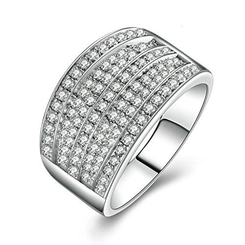 (Bagues de Mariage)Adisaer Bague Argent 925 Homme Bague de Fiancaille Diamant Zirconium Taille