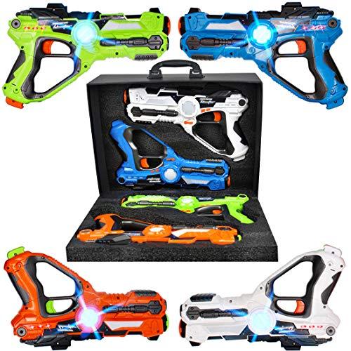 deAO Kit de 4 Pistolets Infrarouges Laser Multi-Joueurs Deluxe avec Lumière Active Ensemble Comprend Quatre Couleurs Différentes