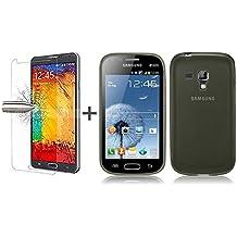 TBOC® Pack: Funda de Gel TPU Negra + Protector Pantalla Vidrio Templado para Samsung Galaxy Trend Plus S7580. Funda de Silicona Ultrafina y Flexible. Protector de pantalla Resistente a Golpes, Caídas y Arañazos.