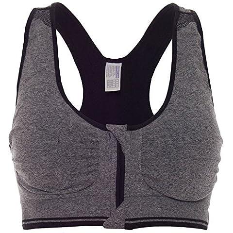 Komfort Damen Push Up mit Buegel Sport BH Stretch Sports Reißverschluss 20643, Farbe:Grau;Größe:L