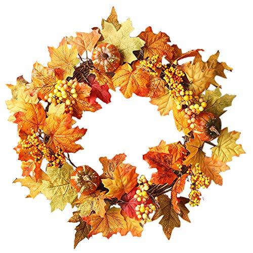 1 PCs Halloween Wreath Maple Leaf Kranz herbstkranz Kürbis Kranz mit Licht für die Haustür zu Hause Dekor Ostern Dekoration (Halloween Die Für Zu Dekoration Hause)