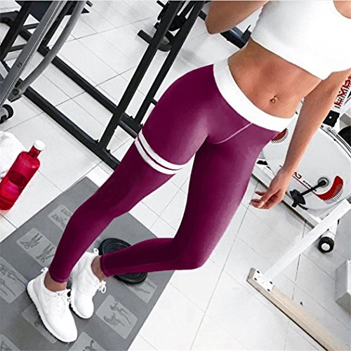Femmes Sportswear,Tonwalk Maigre Femmes Workout Leggings Pantalon de yoga Fitness/Gym /Running Violet
