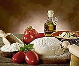 Artland Qualität I Glas Küchenrückwand ESG Spritzschutz Küche 90 x 75 cm Foto Creme F1NR Teig für Pizza