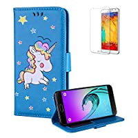 For Samsung Galaxy A510/A5 2016 Case [with Free Screen Protector],Funyye Fashion Folio PU Leather Wallet Magnetic Flip Cover and [Cute Cartoon Rainbow Unicorn] Design Book Type Shockproof Protection Holster Cover for Samsung Galaxy A510/A5 2016 - Blue