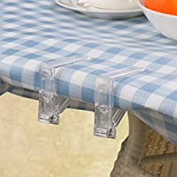 THUKRAL HAULAGE LIMITED Set of 4 Clear Plastic Table Cloth Clips Spring Loaded Dining Kitchen Desk Cover Skirt Protector Adjusting Grip Holder Wedding Party DIY Decoration Portable Picnic Clamps