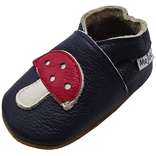 Mejale Baby Shoes Soft Bottom Leather Soft Cartoon Mushroom Infant Toddler Children First Pair of Walking Shoes 6Months (Babys Outfits Home Going)