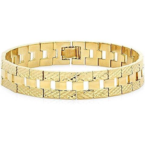Da uomo/donna, stile classico Cinturino Bracciale placcato oro giallo 14K