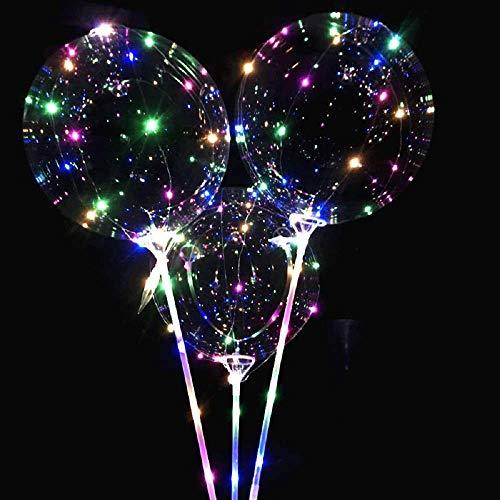 allon LED Beleuchten Ballon Gürtelschlauch Wiederverwendbare Leuchtende Geführte Ballon Transparente Runde Blasen Dekorations für Weihnachten Party Hochzeitsfeiern (Multicolor) ()