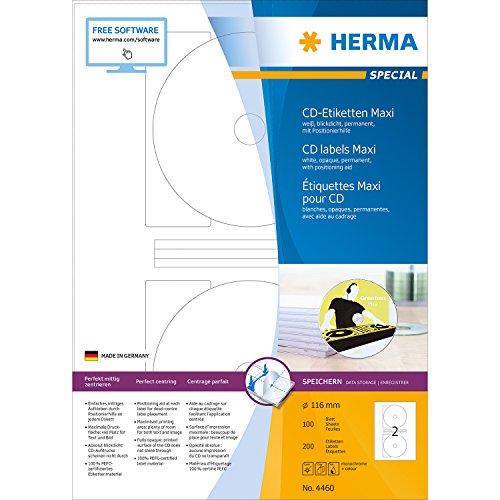 Herma 4460 CD-Etiketten (Maxi A4 Ø116 mm Papier matt, blickdicht) 200 Stück weiß
