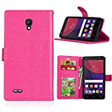 Qiaogle Telefon Case - PU Leder Wallet Schutzhülle Case für Alcatel One Touch Go Play OT-7048X (5.0 Zoll) - DK06 / Rose Klassische Solid Color Geschäfts art