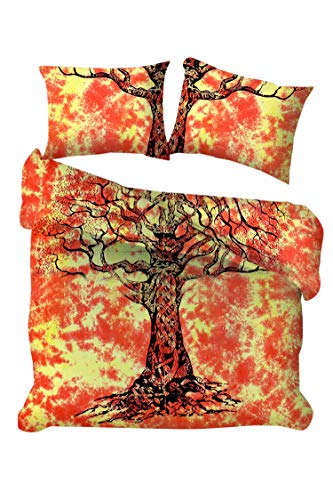 Marusthali Baum des Lebens Bettbezug werfen indische handgefertigte Krawatte Farbstoff Baumwolle Donna Cover Reversible Bettwäsche Bettbezug